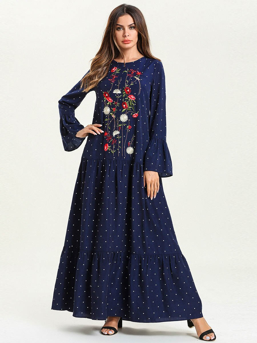 Abaya Embroidery Patterns 4xl Muslim Women Abaya Dresses Printed Purplish Blue Maxi Abaya Jalabiya Islamic Women Embroidery Dress Clothing 7540