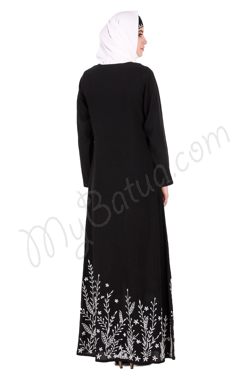 Abaya Embroidery Patterns Descending Leaf Pattern Embroidered Abaya