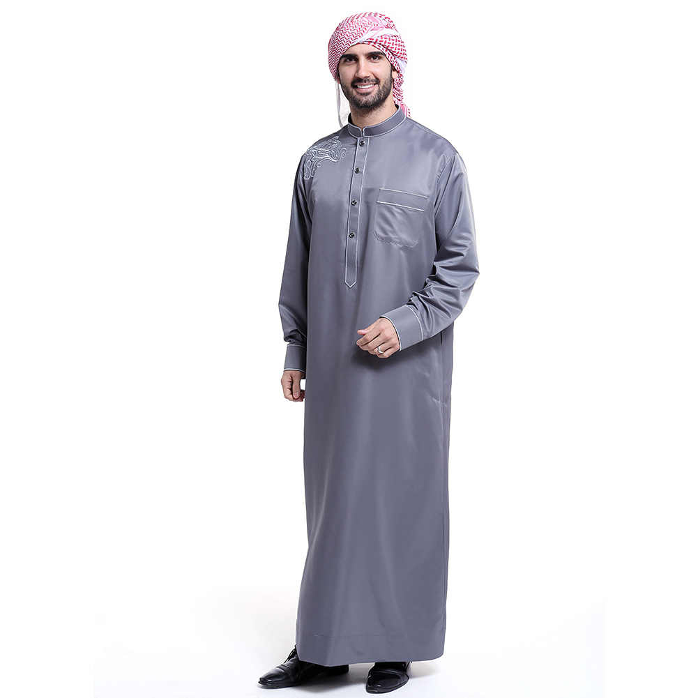 Abaya Embroidery Patterns Fashion Muslim Clothing Men Robes Long Sleeve Embroidery Pattern Arab Dubai Indian Middle East Islamic Man Thobe Kaftan 48