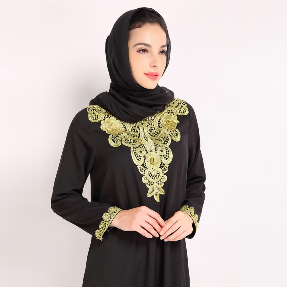 Abaya Embroidery Patterns Fashion Women Muslim Dress Embroidery Long Sleeve Abaya Kaftan Islamic Arab Robe Maxi Dress Blackcoffeeblue Black L Online Shopping Tomtop