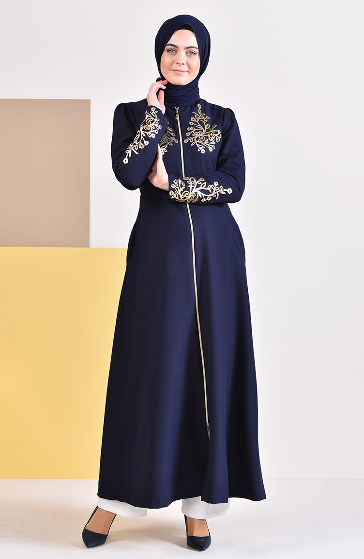 Abaya Embroidery Patterns Gold Printed Zippered Abaya 4117 05 Navy Blue 4117 05