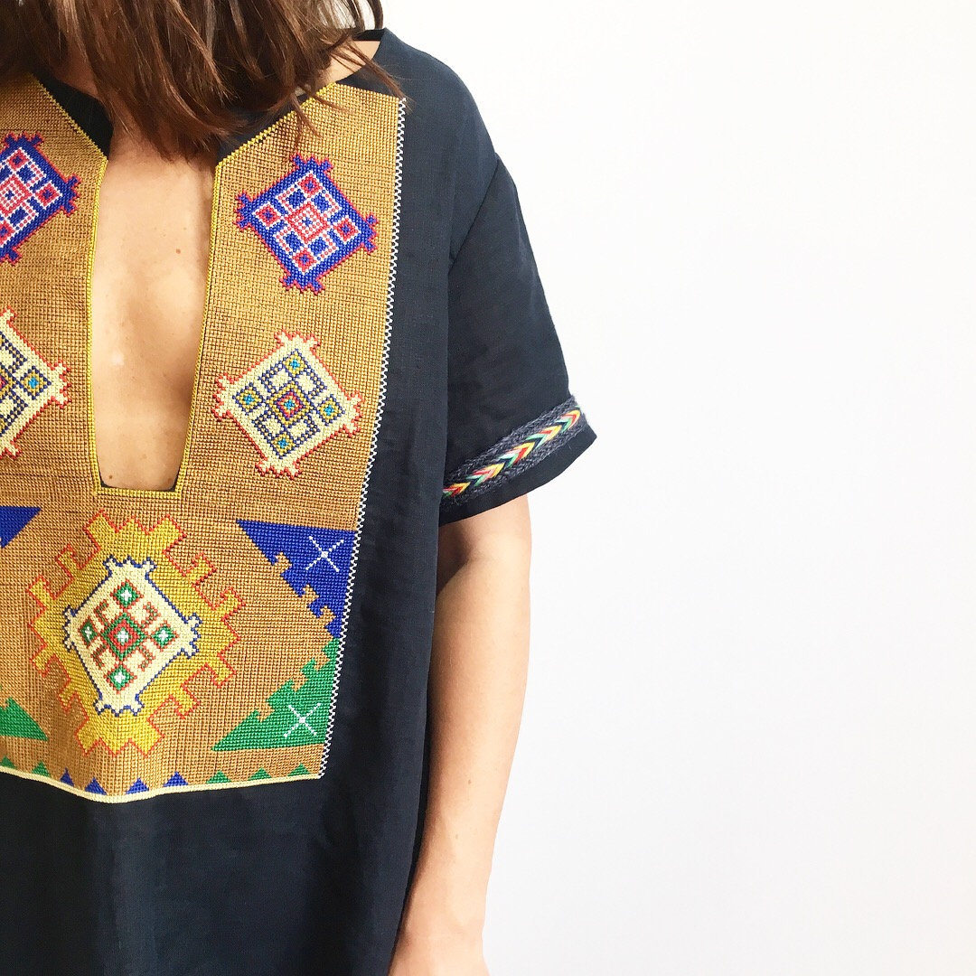Abaya Embroidery Patterns Mexican Style Navy Dress With Multicolor Geometric Embroidery 100 Linen Ethnic Boho Dress Tunic Bohemian Abaya Kaftan Robe Gypsy Aztec