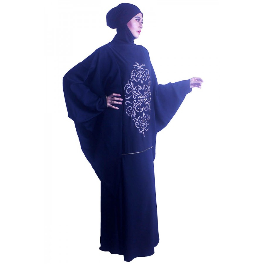 Abaya Embroidery Patterns Moonabaya Black Kaftan Abaya Ivette Knotted Pattern Embroidery