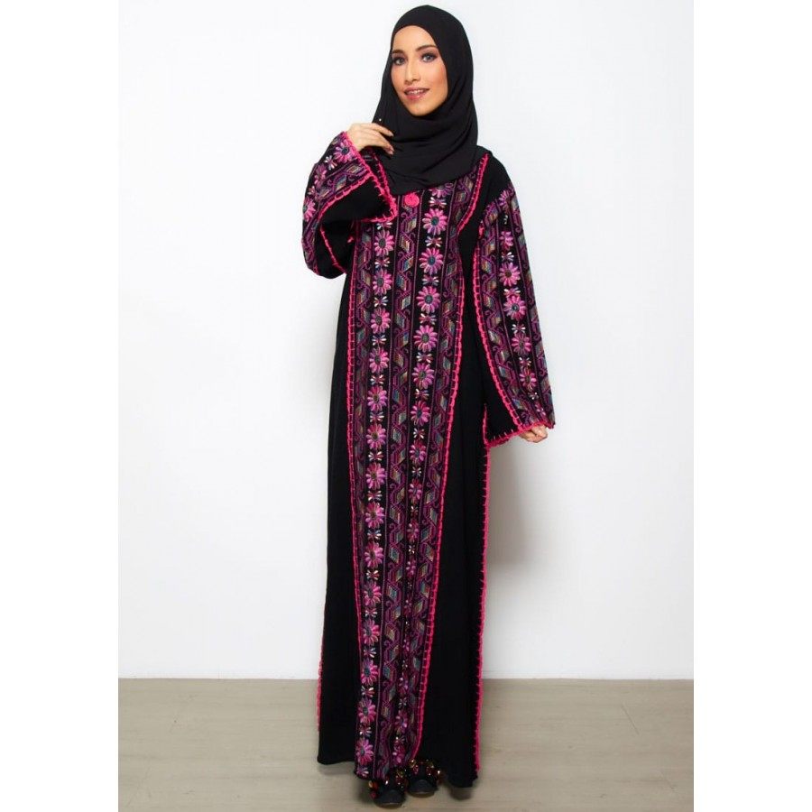 Abaya Embroidery Patterns Moonabaya Classic Black Abaya Floretta Cross Stitch Pattern Pink