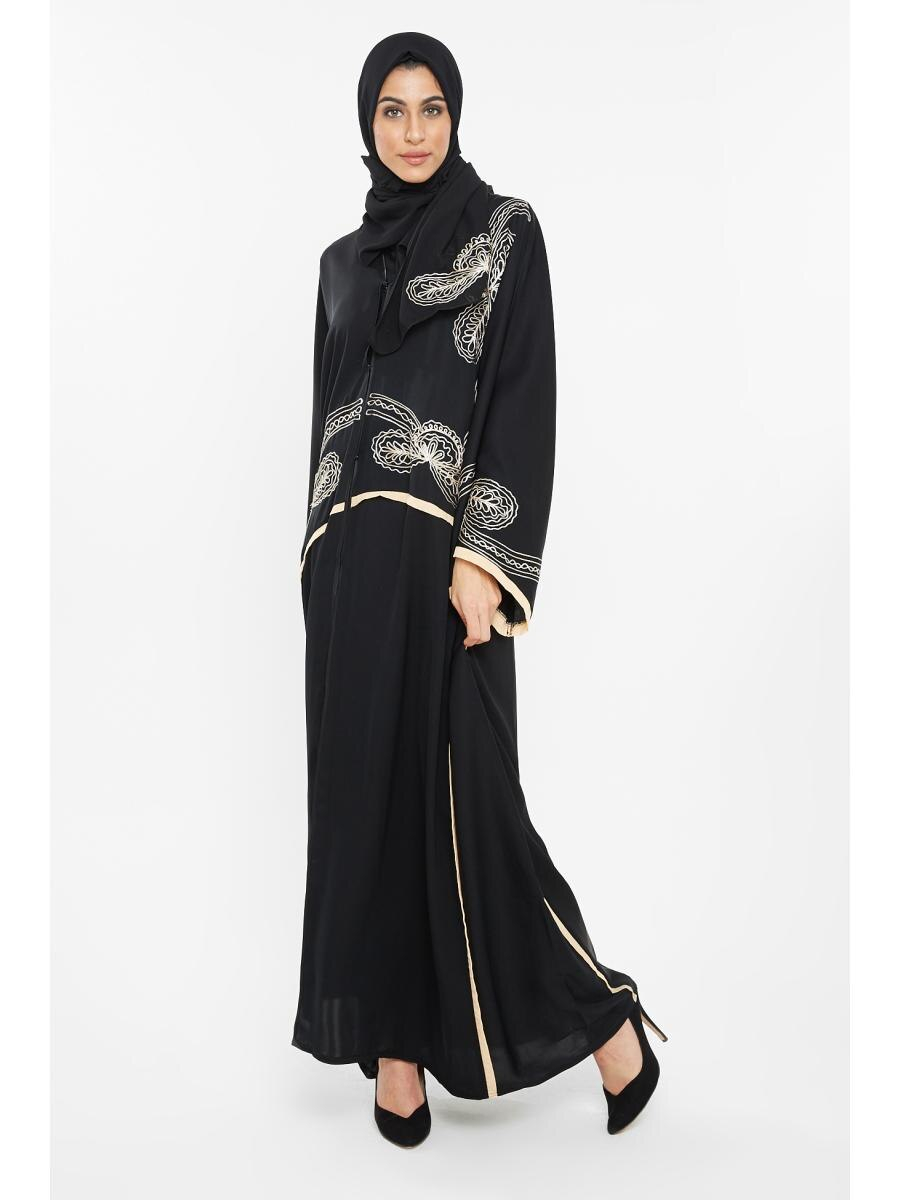 Abaya Embroidery Patterns Nukhbaa Womens Abaya Classic Embroidery Pattern Elegant Abaya