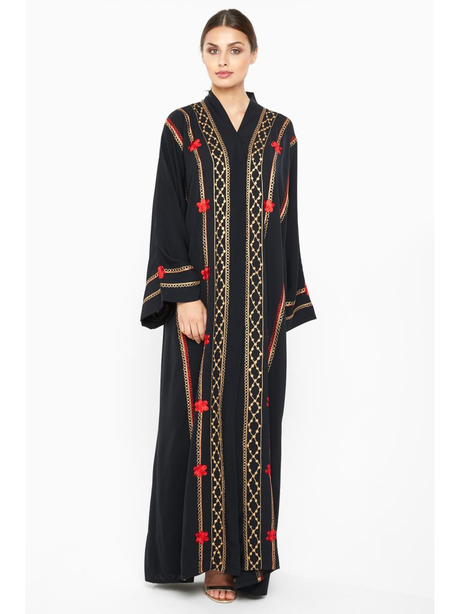 Abaya Embroidery Patterns Nukhbaa Womens Abaya Fashion Floral Pattern Long Sleeve Elegant Chic Abaya