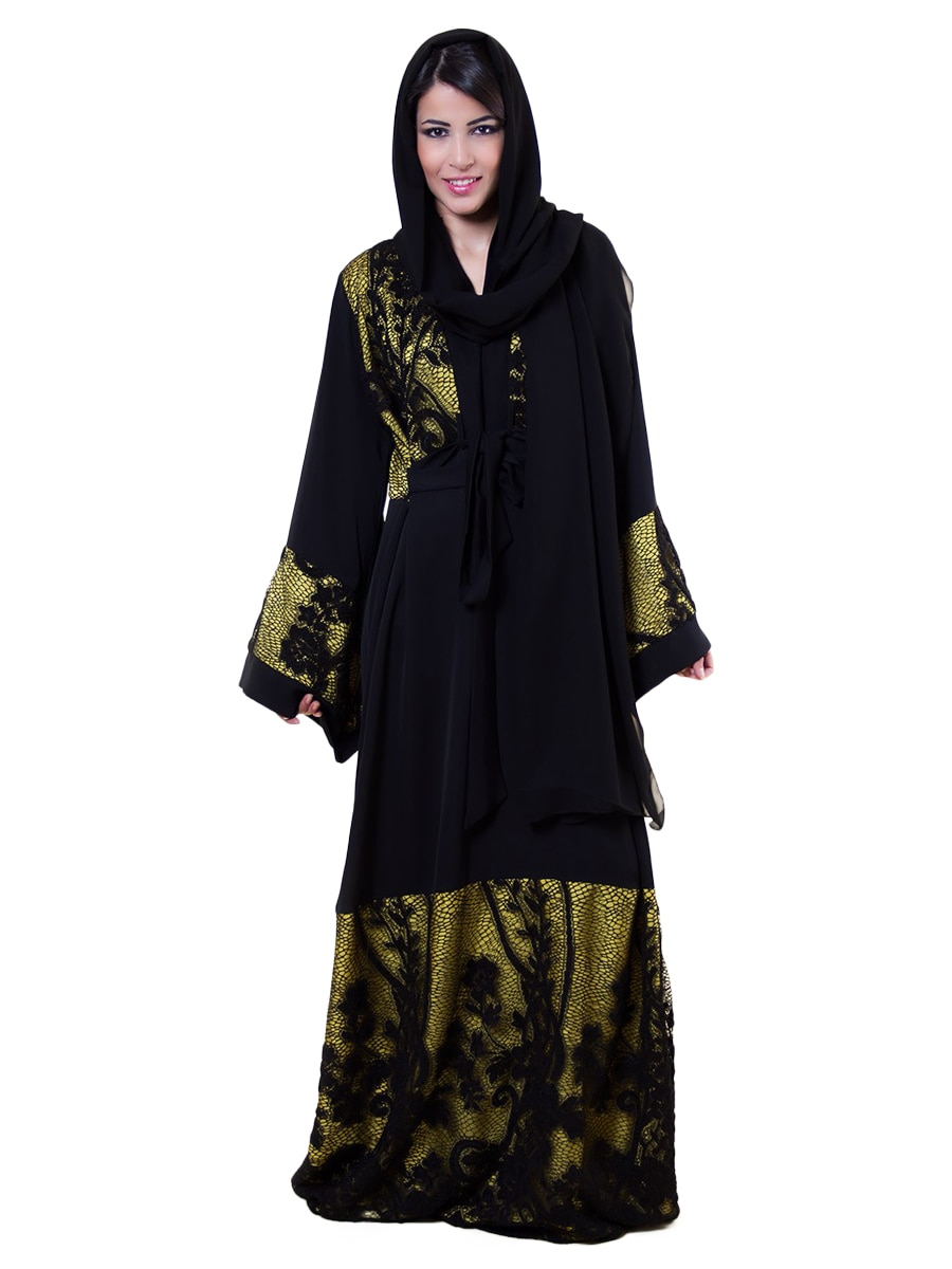 Abaya Embroidery Patterns Royal Couture Womens Abaya Floral Pattern Color Block Casual Abaya
