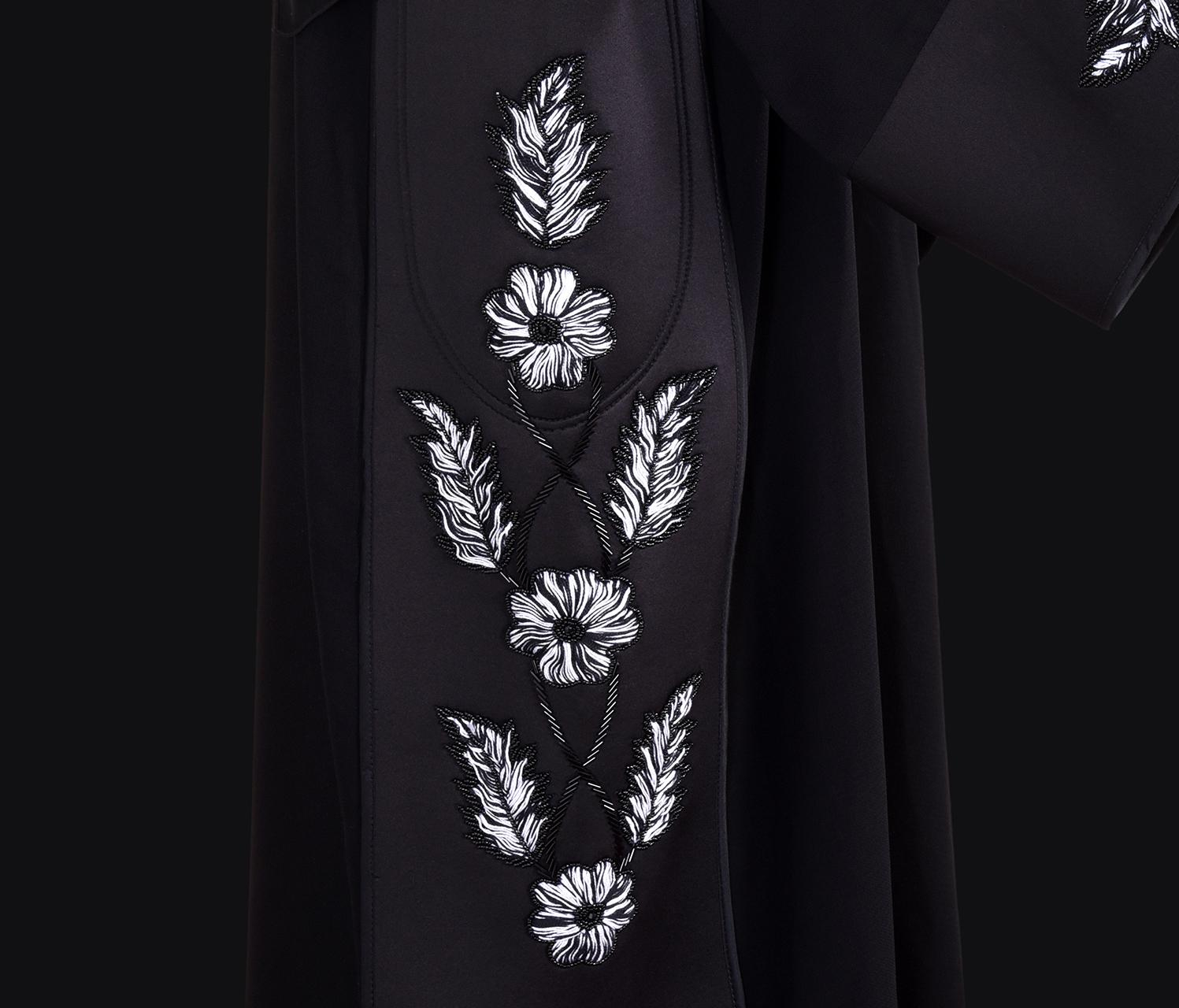 Abaya Embroidery Patterns White Black Embroidery Abaya