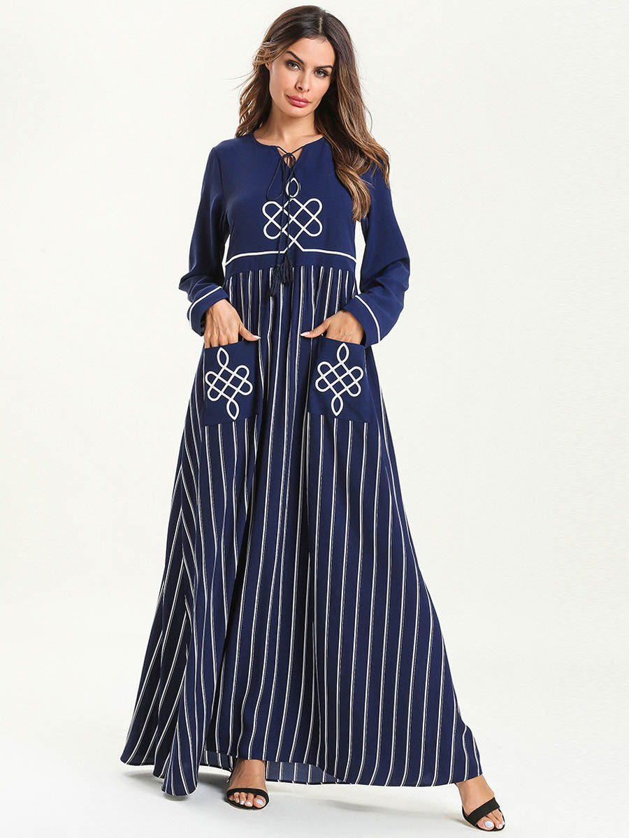 Abaya Embroidery Patterns Women Abaya Dubai Turkey Bangladesh Islamic Clothing Plus Size Kaftan Arabic Embroidery Blue Long Robe Muslim Maxi Dress 2019