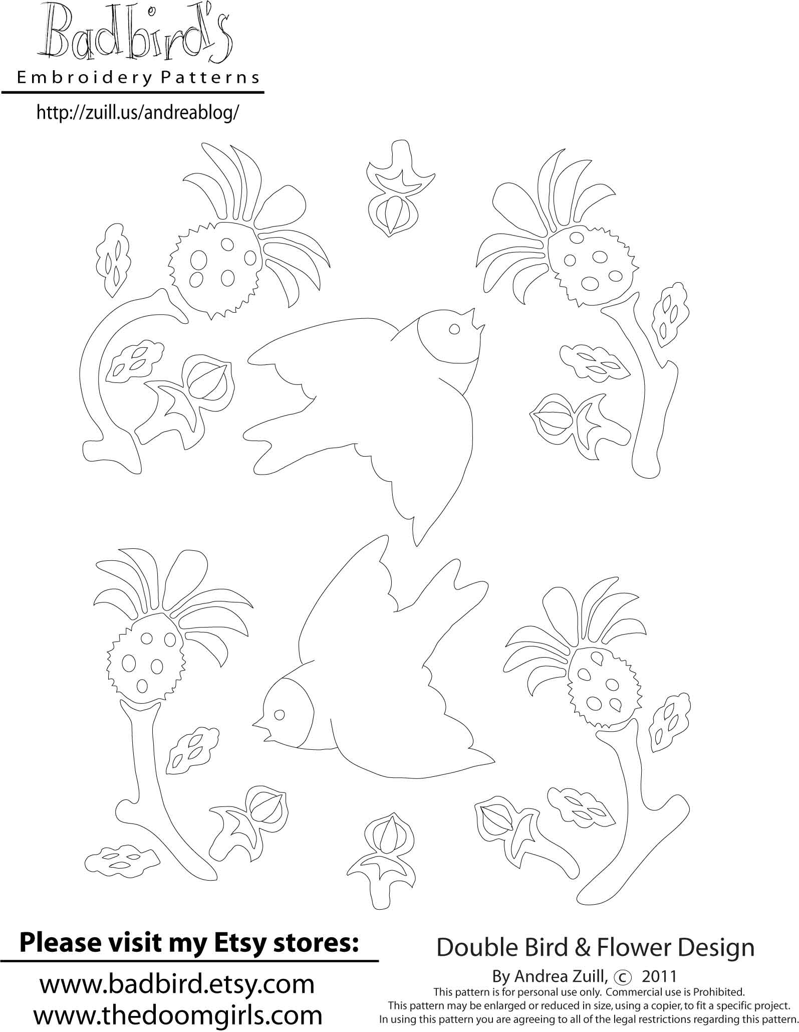 Bird Embroidery Pattern Augusts Embroidery Pattern Some Birds And Stuff Andrea Zuills