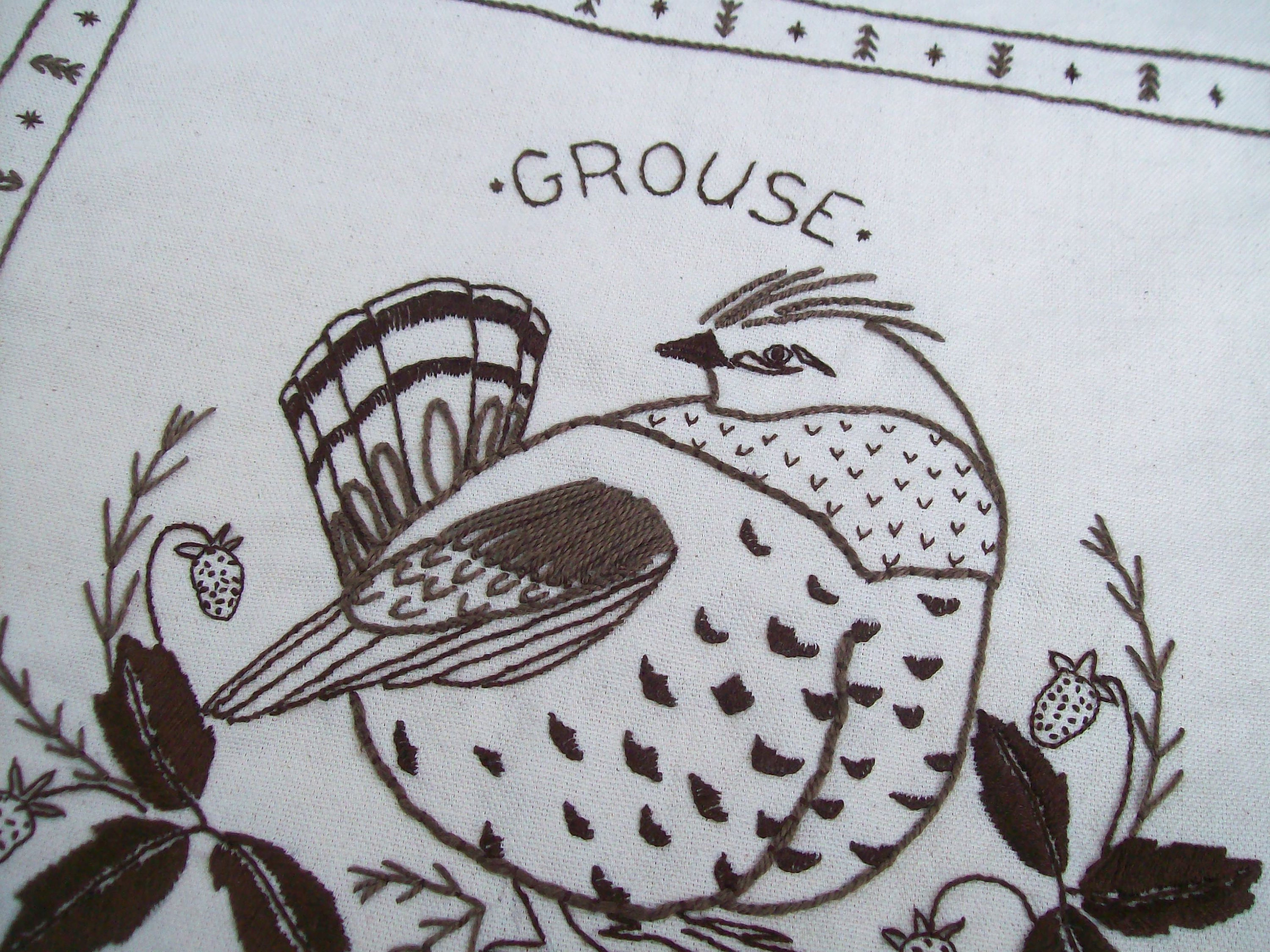 Bird Embroidery Pattern Bird Embroidery Pattern Fat Grouse Embroidered Pillow Pattern Grouse Hand Embroidery Pdf Download Bird Embroidery Pattern