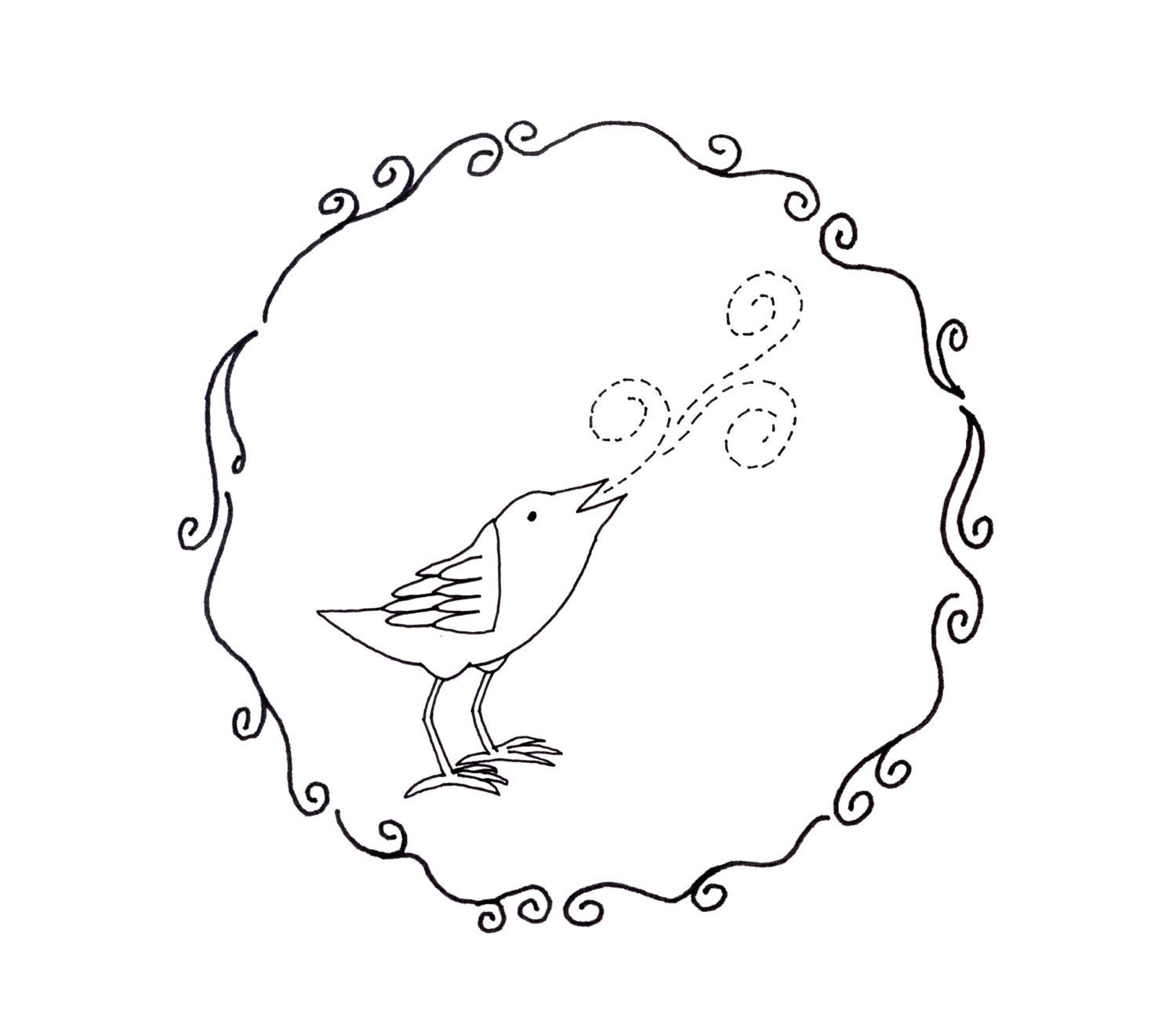 Bird Embroidery Pattern Bird Embroidery Pattern Woodland Animal Digital Downloadable 0106