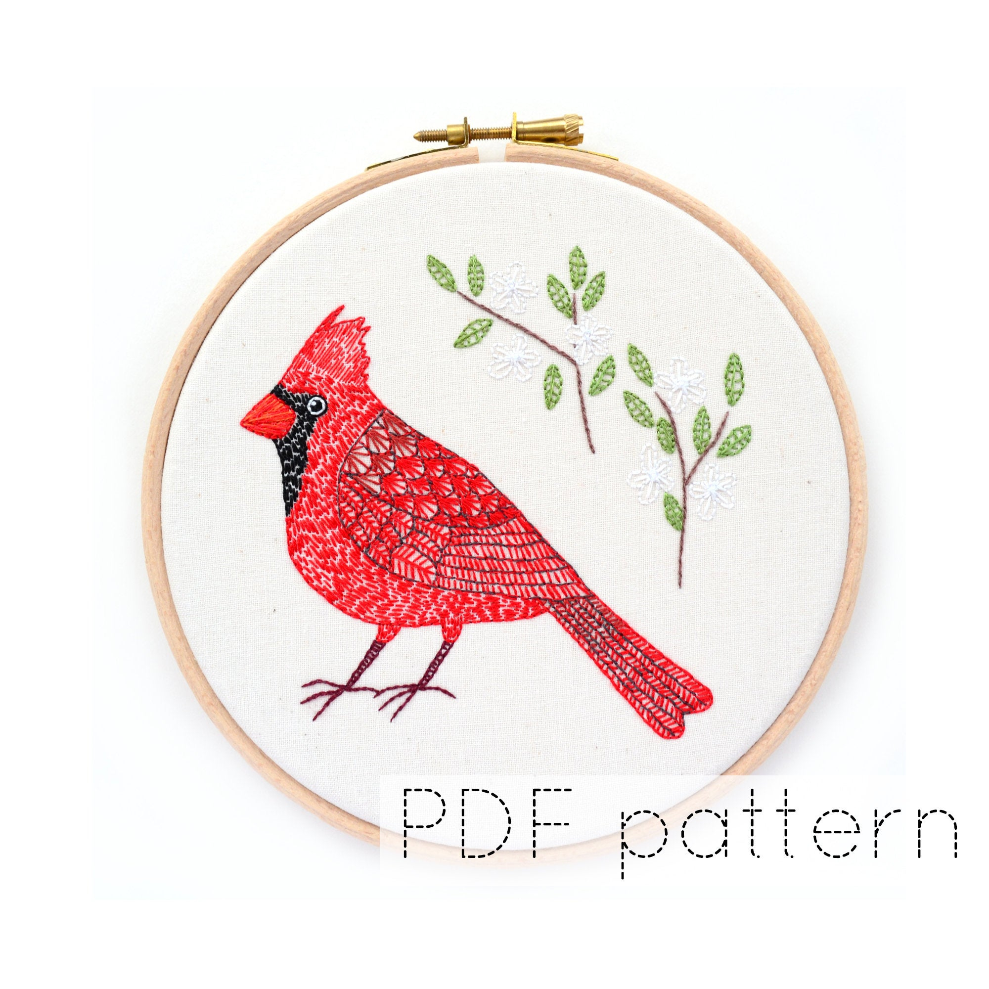 Bird Embroidery Pattern Cardinal Bird Embroidery Pattern Instant Download