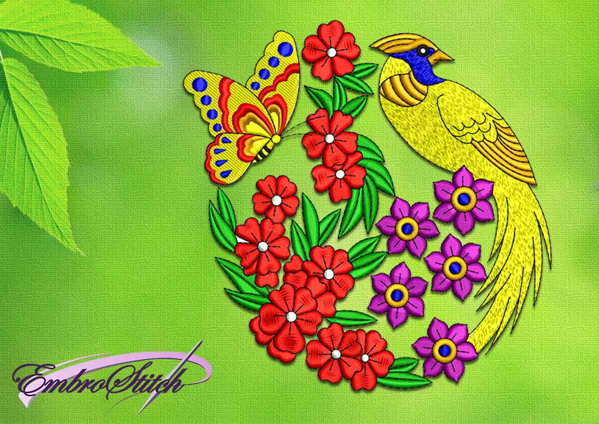 Bird Embroidery Pattern Garden Bird Embroidery Design 3 Sizes