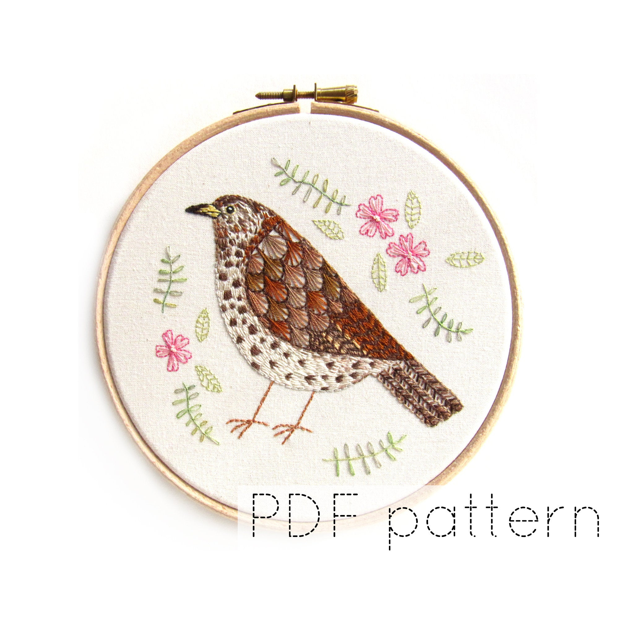 Bird Embroidery Pattern Song Thrush Bird Embroidery Pattern Instant Download