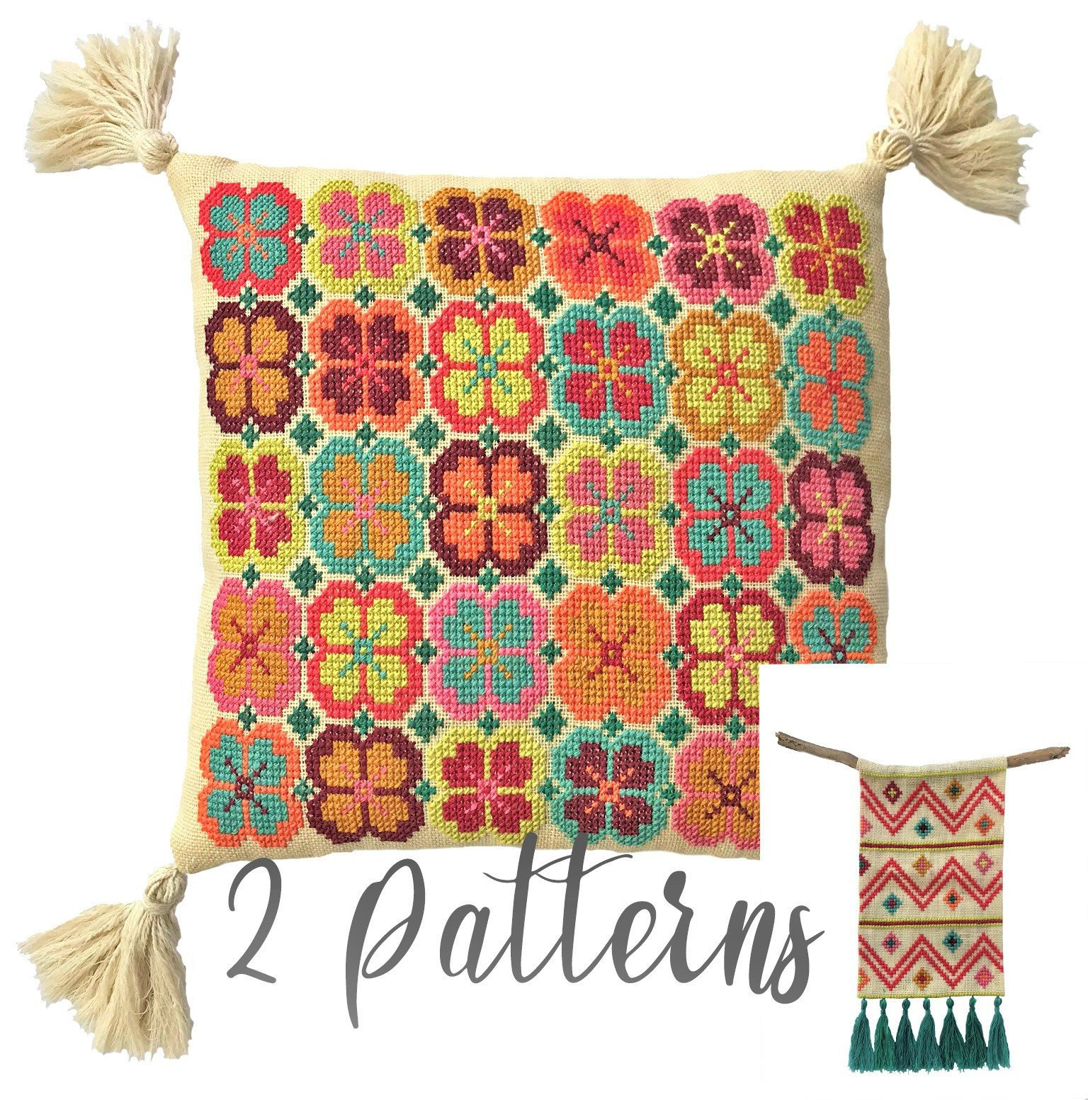 Bohemian Embroidery Patterns Bohemian Cross Stitch Pattern Diy Embroidery Cushion Wall Hanging Boho Inspired Needlework Pdf Instant Download Bundle 2 Patterns