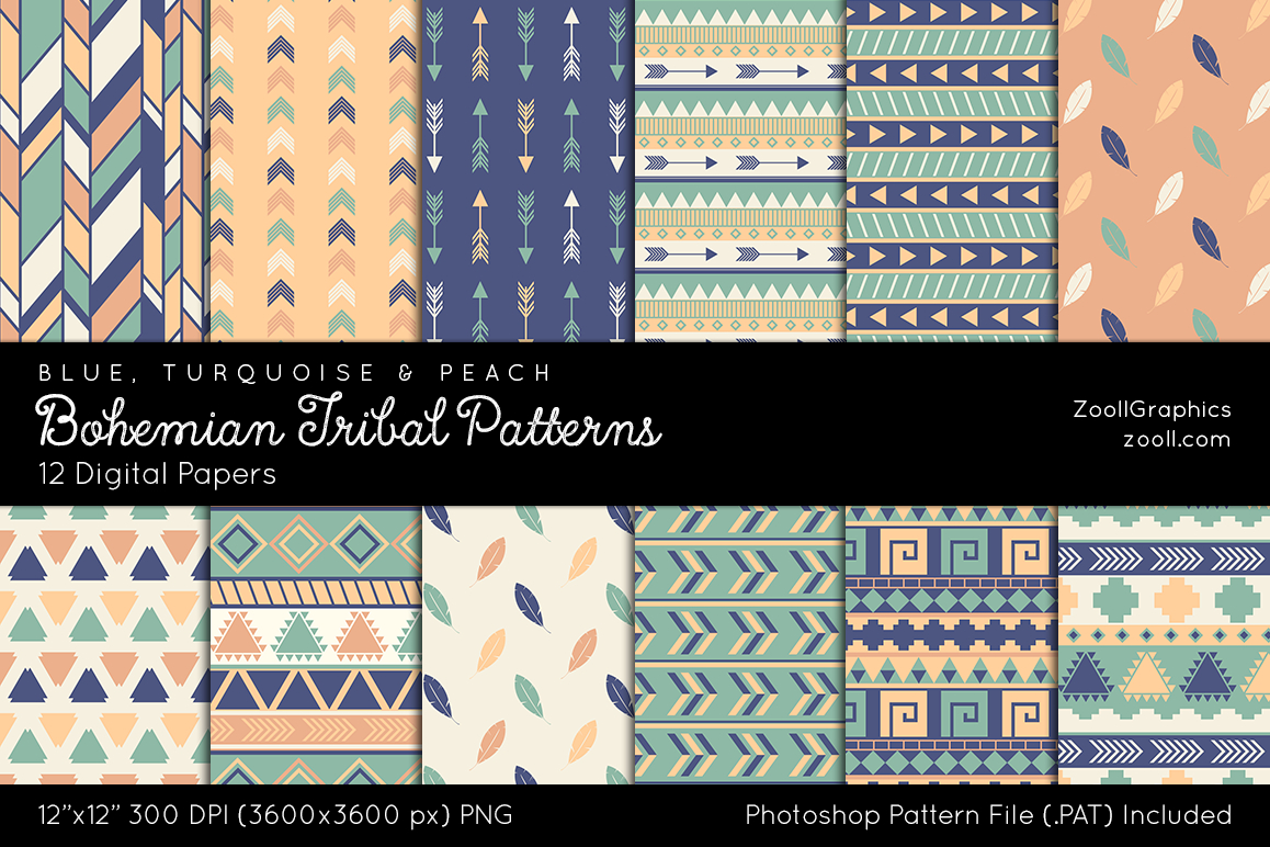 Bohemian Embroidery Patterns Bohemian Tribal Patterns Digital Papers