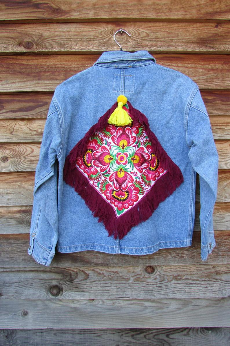 Bohemian Embroidery Patterns Leyila Large Vintage Bohemian Jacket Embroidery Recycled Jacket Boho Ribbon Tassel Apparel Hippie Colored Fashion Ethnic Patterns Back