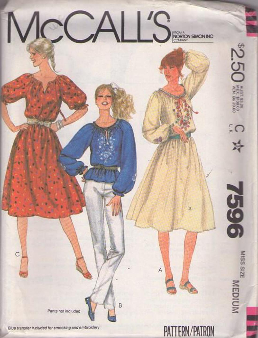 Bohemian Embroidery Patterns Mccalls 7596 Vintage 80s Sewing Pattern Just Lovely Bohemian Ethnic Festival Elastic Scoop Neck Tunic Top Blouse Or Blouson Dress Floral