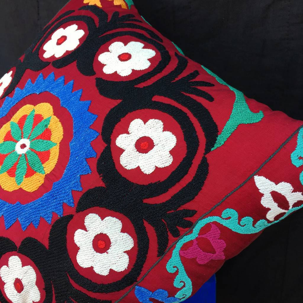 Bohemian Embroidery Patterns Suzani Pillow Cover Uzbek Silk Embroidered Cushion Ethnic Boho