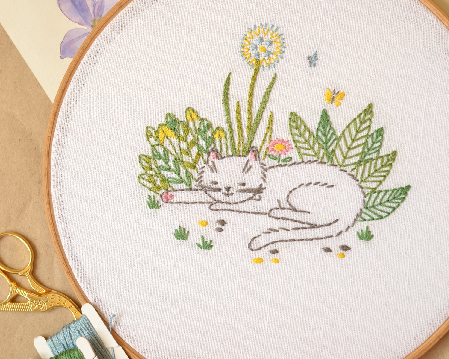 Cat Embroidery Patterns Cat And Dandelion Hand Embroidery Patterns Pdf Summer Garden Floral Embroidery Cute Gift Naiveneedle