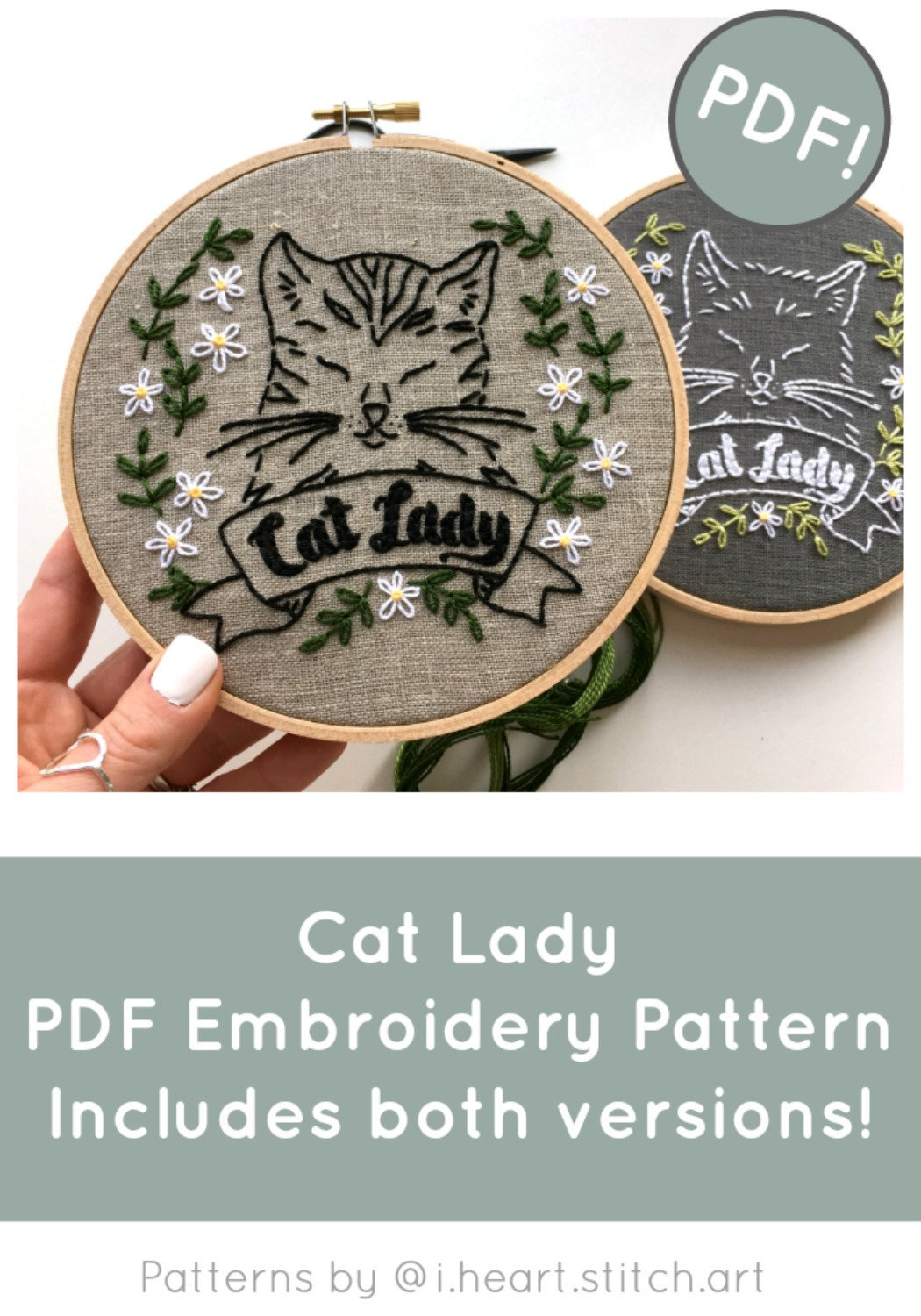 Cat Embroidery Patterns Cat Lady Embroidery Pattern