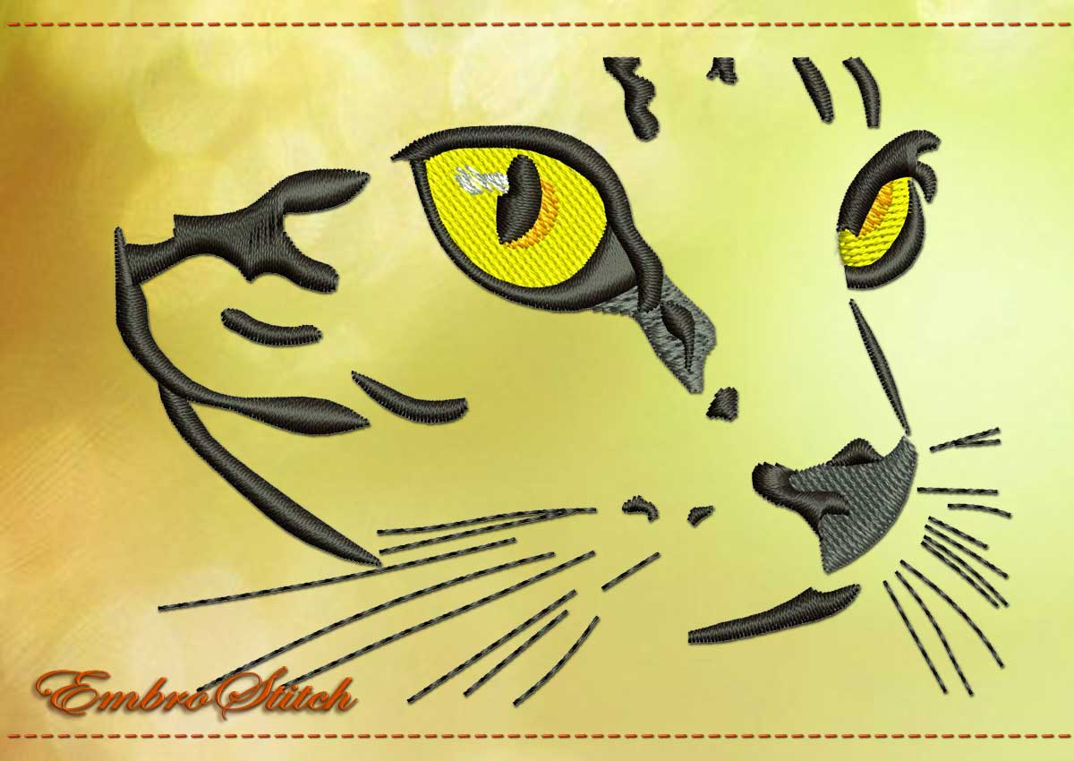 Cat Embroidery Patterns Cat Outline Embroidery Design 2 Sizes