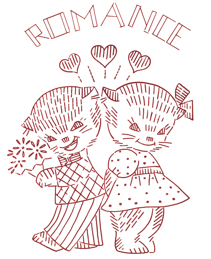Cat Embroidery Patterns Cats In Love Vintage Embroidery Transfers Q Is For Quilter