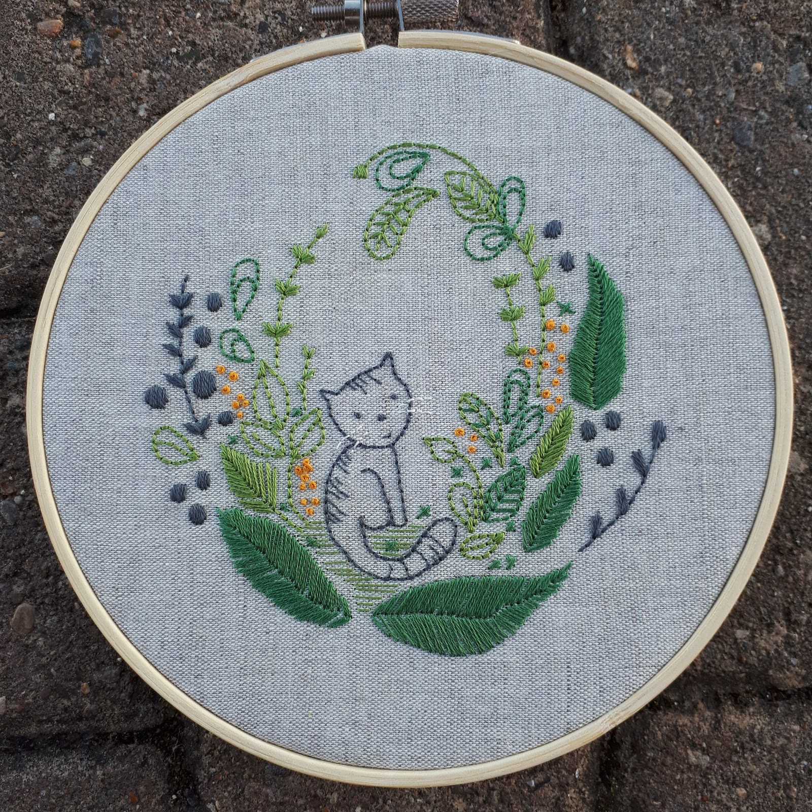 Cat Embroidery Patterns Jennies Threads Cat Embroidery A Finish