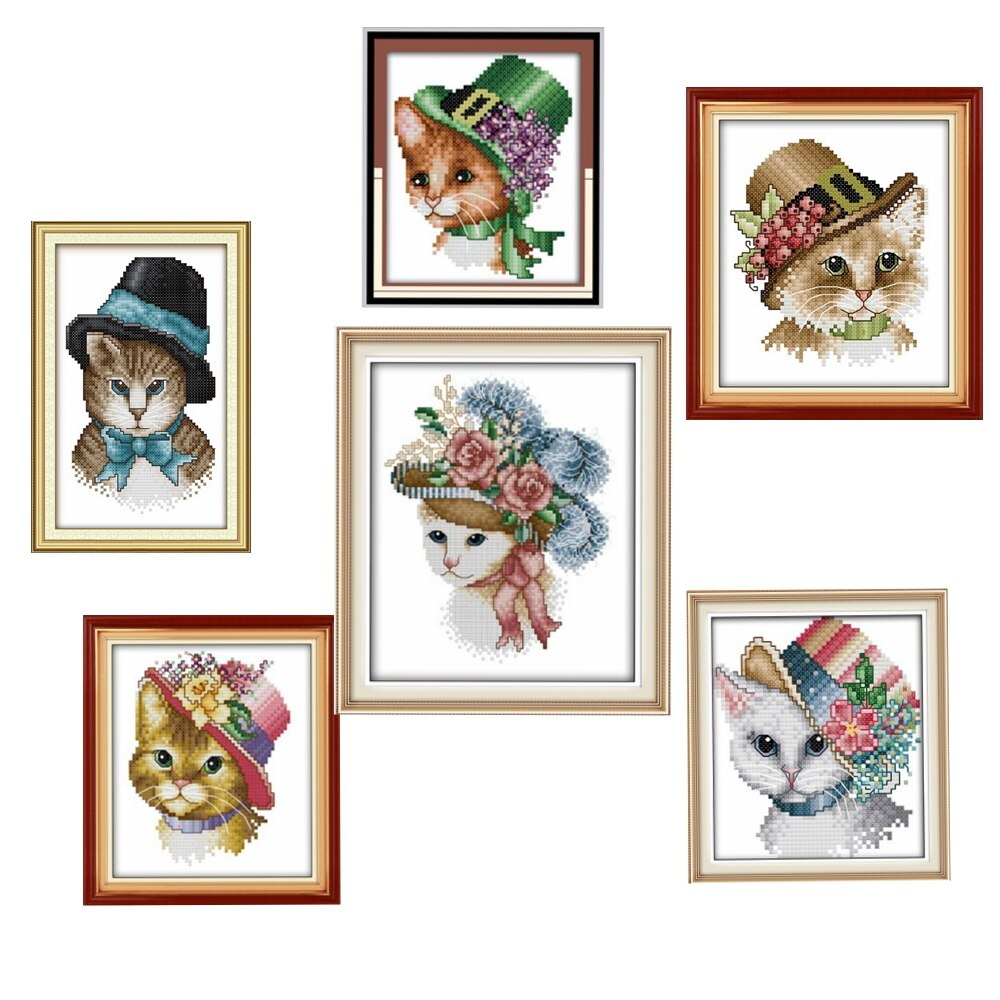 Cat Embroidery Patterns Us 499 50 Offa Noble Cat Cross Stitch Kits Animal Cartoon 14ct 11ct Embroidery Patterns Sewing Kit Diy Handmade Needlework Decoration Plus In