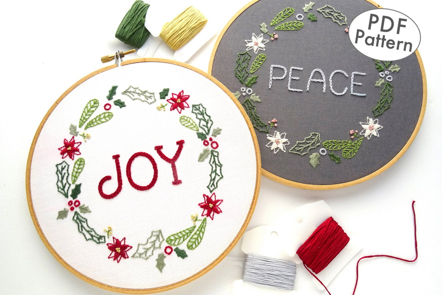 Christmas Hand Embroidery Patterns Christmas Wreath Hand Embroidery Pattern Pdf Embroidery Download Christmas Gift Ideas Diy Holiday Gifts Peace Embroidery Design