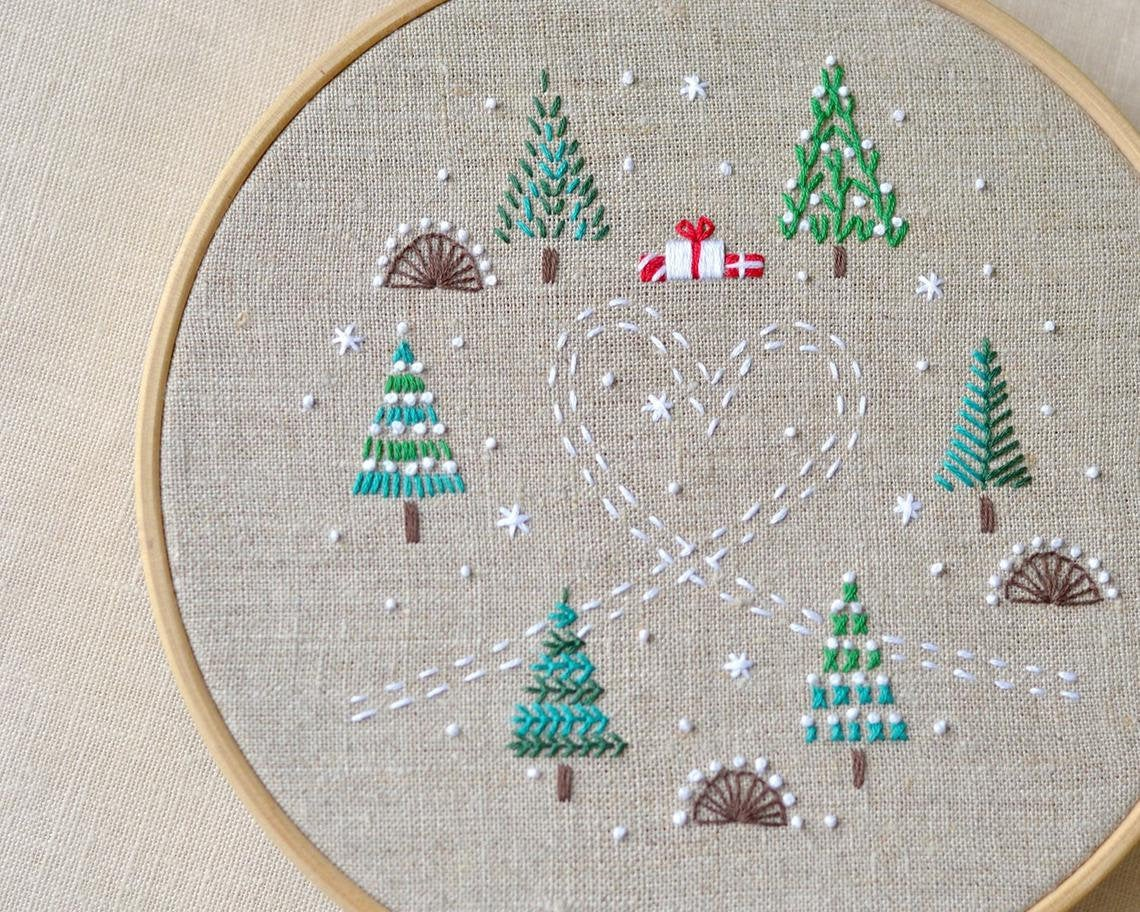 Christmas Hand Embroidery Patterns Instant Download Merry Christmas Intermediate Hand Embroidery Patterns Naive Needle At Thecottageneedle Winter December 25