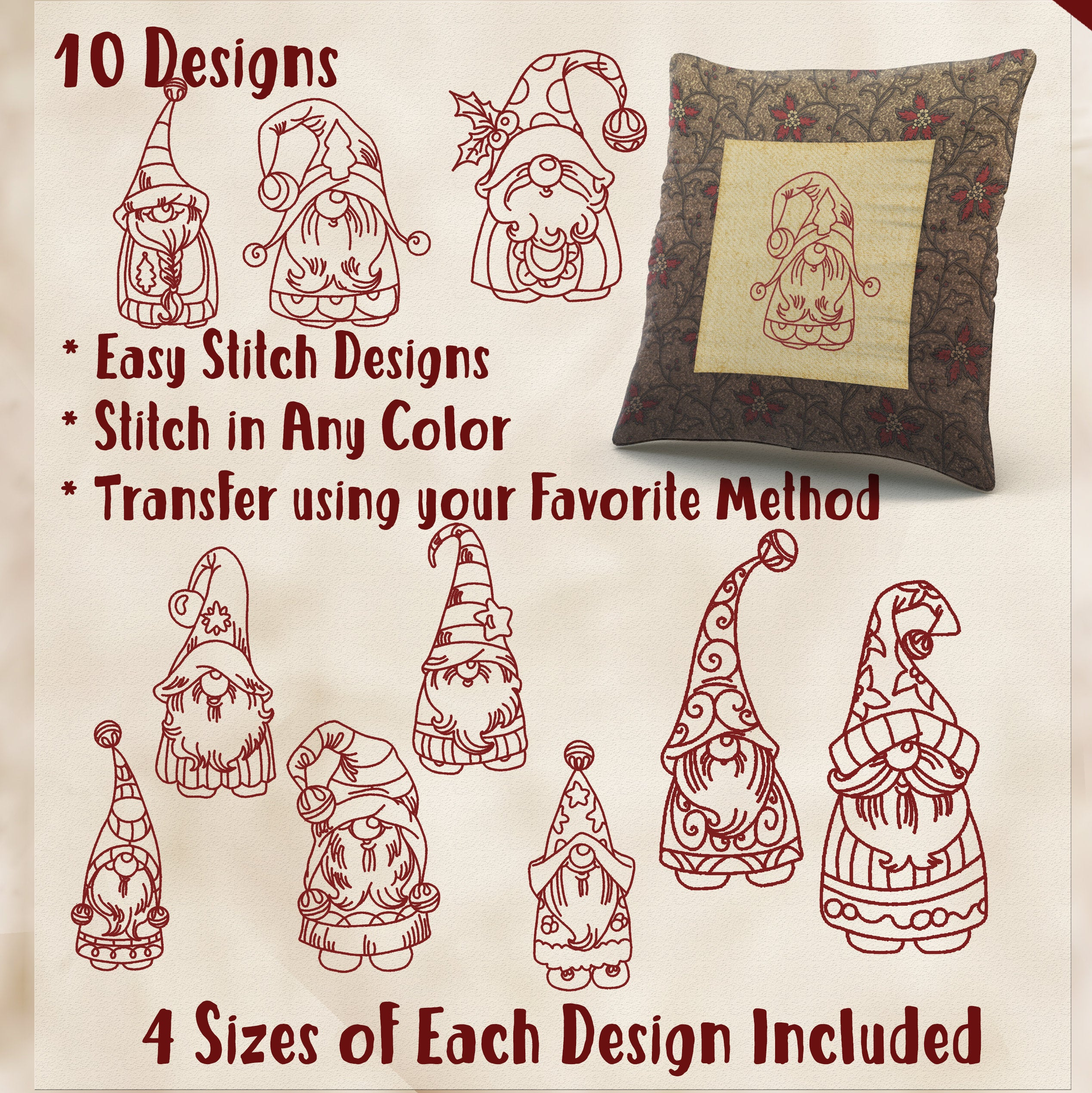 Christmas Hand Embroidery Patterns Sale Hand Embroidery Patterns Holiday Gnomes In 4 Sizes Pdf Instant Download 10 Designs For Holidays Christmas Quilting Embroidery