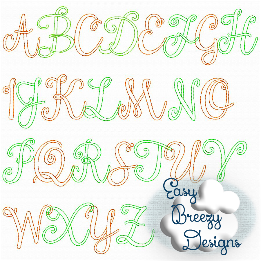 Embroidery Alphabet Patterns Script Floss Alphabet Set Sketch Embroidery Design Vintage Look Upper Case Only Embroidery Alphabet Font No Other Files Included