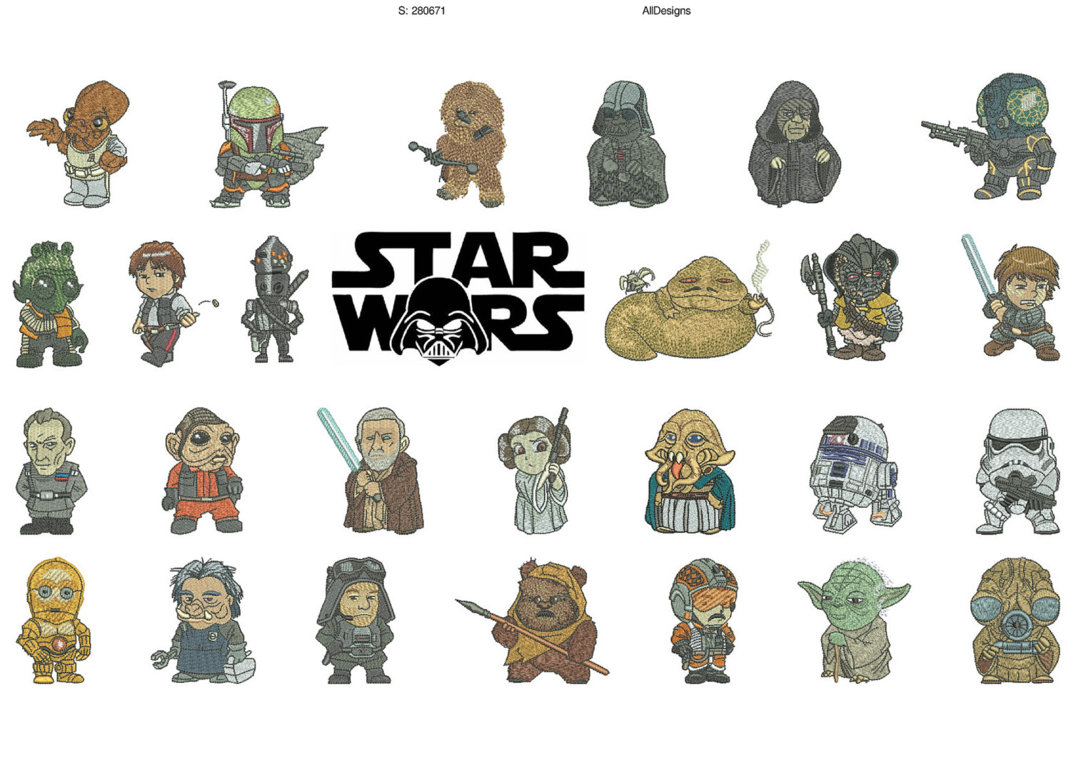 Embroidery Alphabet Patterns Star Wars A Z 26 Characters For Each Alphabet Machine Embroidery Designs