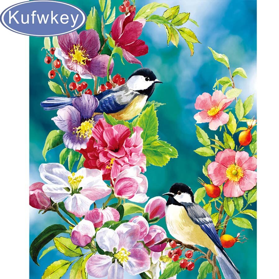 Embroidery Bird Patterns 100 Diy Diamond Mosaic Peony And Bird Handmade Diamond Painting