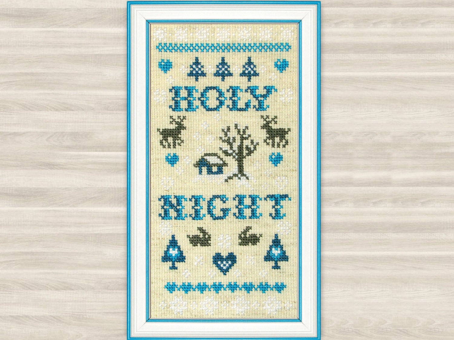 Embroidery Sampler Patterns Free Buy 2 Get 1 Free Holy Night Cross Stitch Pattern Pdf Christmas Deer Home Decor Christmas Gift Winter Sampler Snow Embroidery Blue Primitive