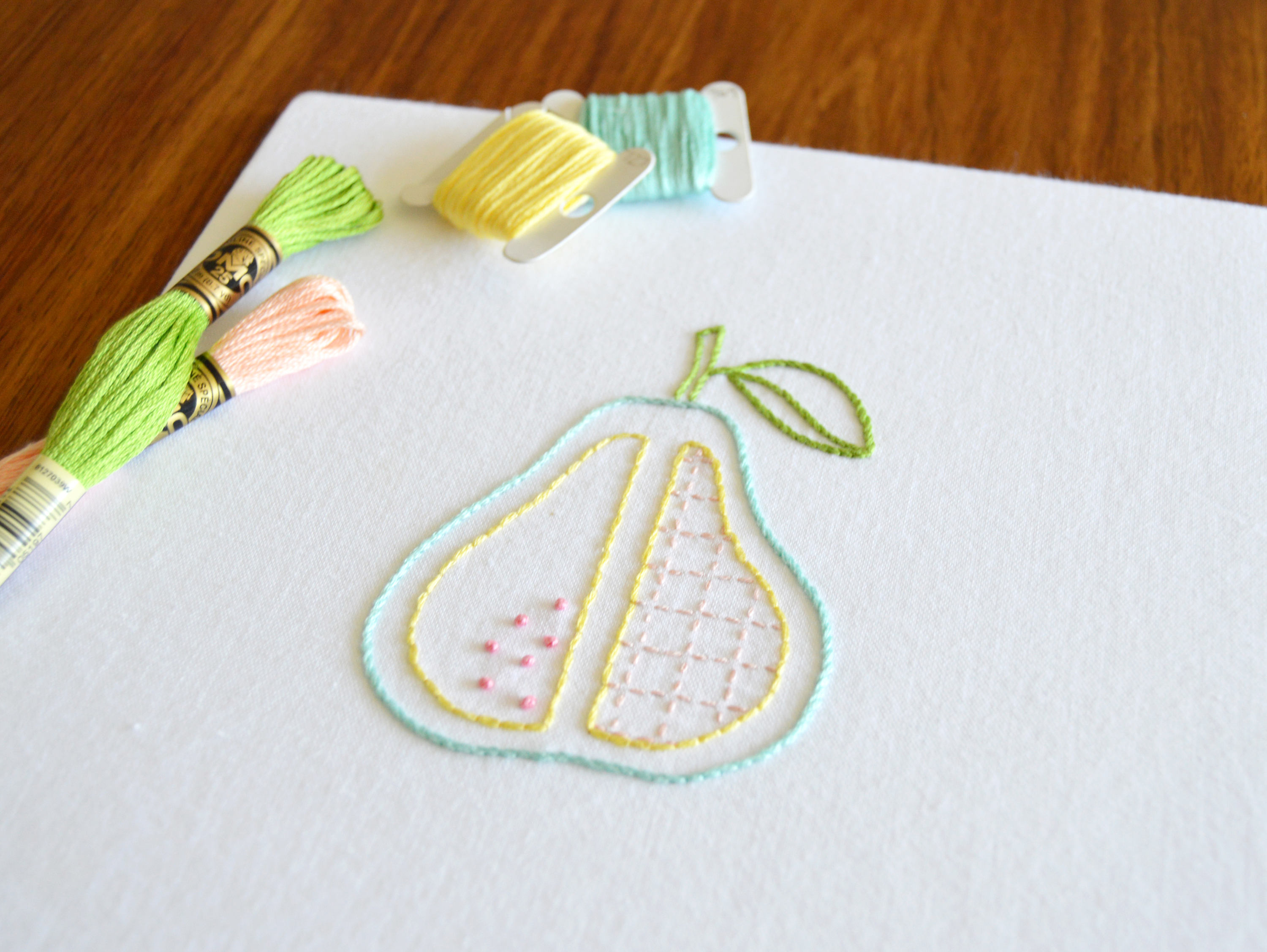 How To Design Embroidery Patterns By Hand Cleaver Pear Hand Embroidery Pattern Modern Embroidery Fruit Design Embroidery Patterns Embroidery Pdf Pdf Pattern