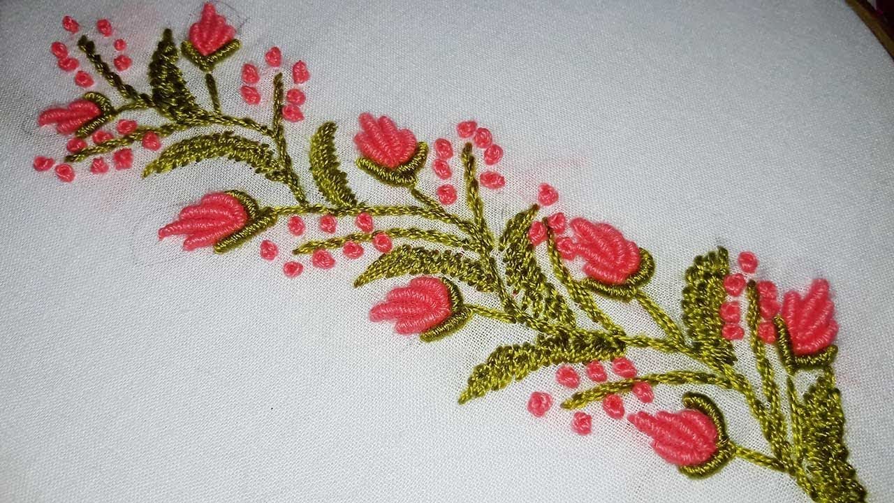 How To Design Embroidery Patterns By Hand Hand Embroidery Designs Border Line Tutorial For Beginners Nakshi Katha
