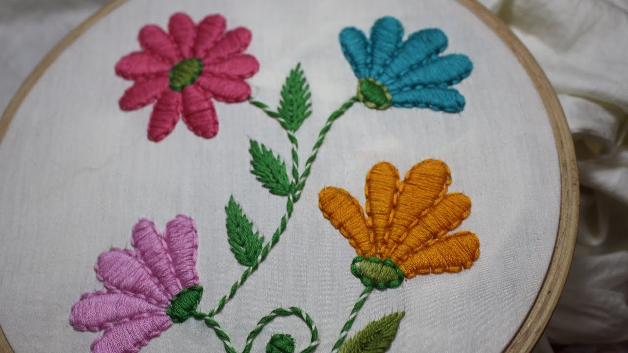 How To Design Embroidery Patterns By Hand Hand Embroidery Designs Satin Stitch Stitch And Flower 128