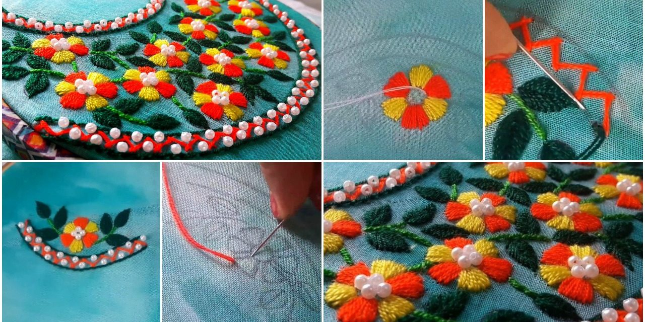 How To Make An Embroidery Pattern How To Make Beautiful Round Neck Embroidery Designs Simple Craft Ideas