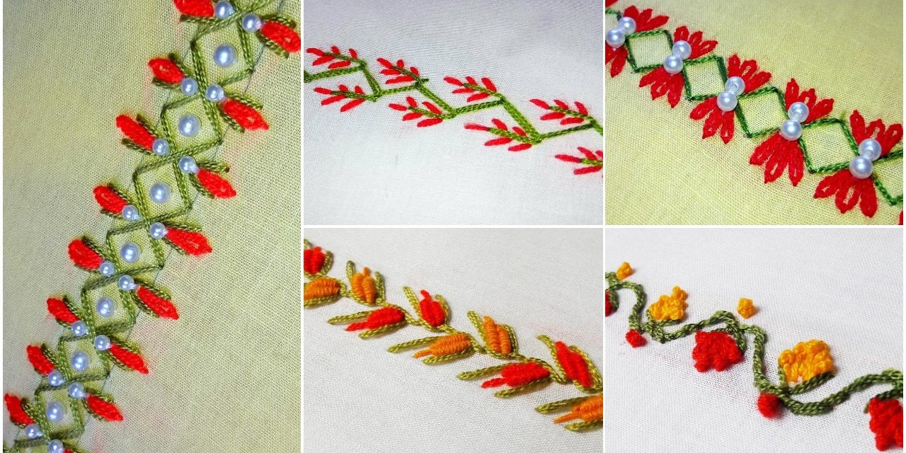 How To Make Embroidery Patterns Hand Embroidery Border Design Simple Craft Ideas
