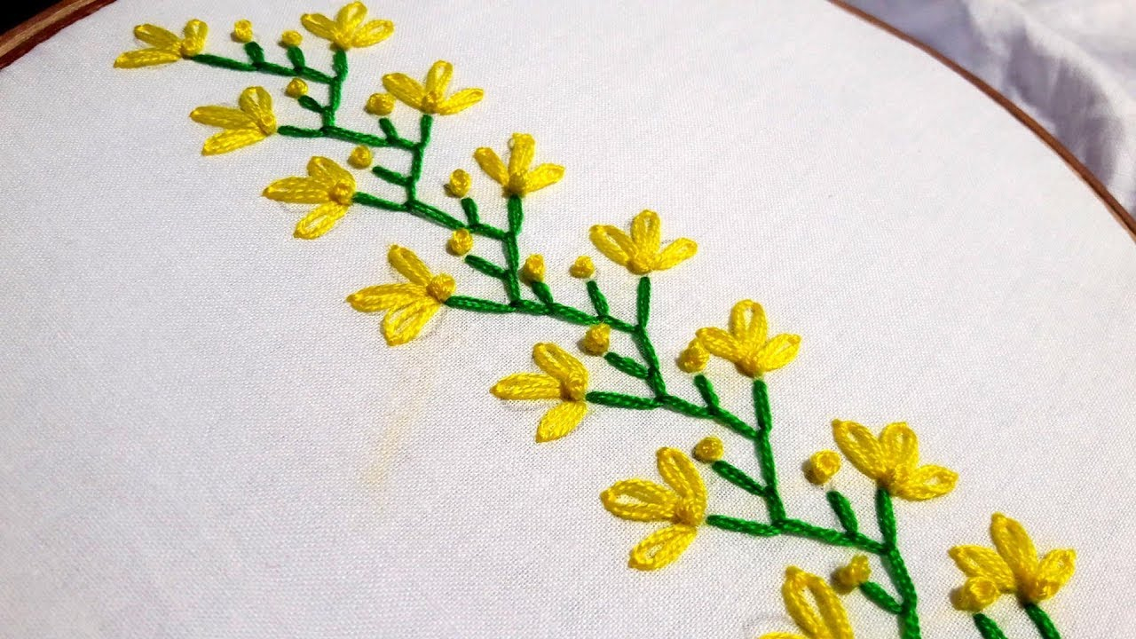 How To Make Embroidery Patterns Hand Embroidery Easy Beautiful Border Design For Beginners