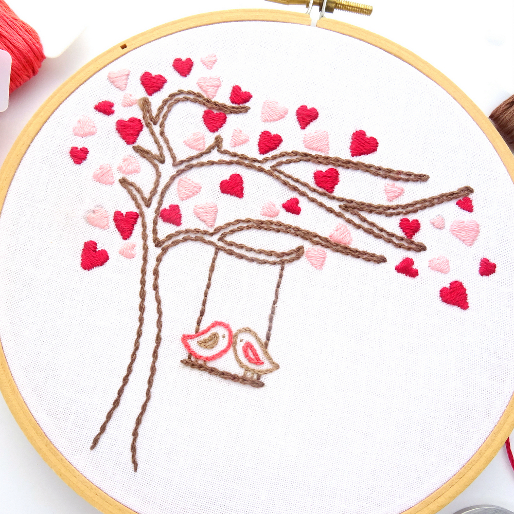 How To Make Hand Embroidery Patterns Love Birds Heart Tree Hand Embroidery Pattern