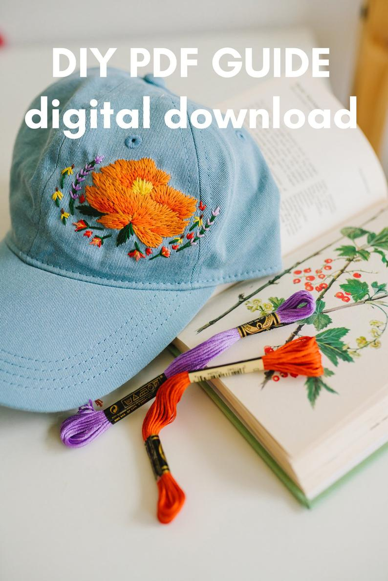 How To Make Your Own Embroidery Pattern Digital Download Mire Made Embroidery Pattern Make Your Own Embroidered Hat Peony 1
