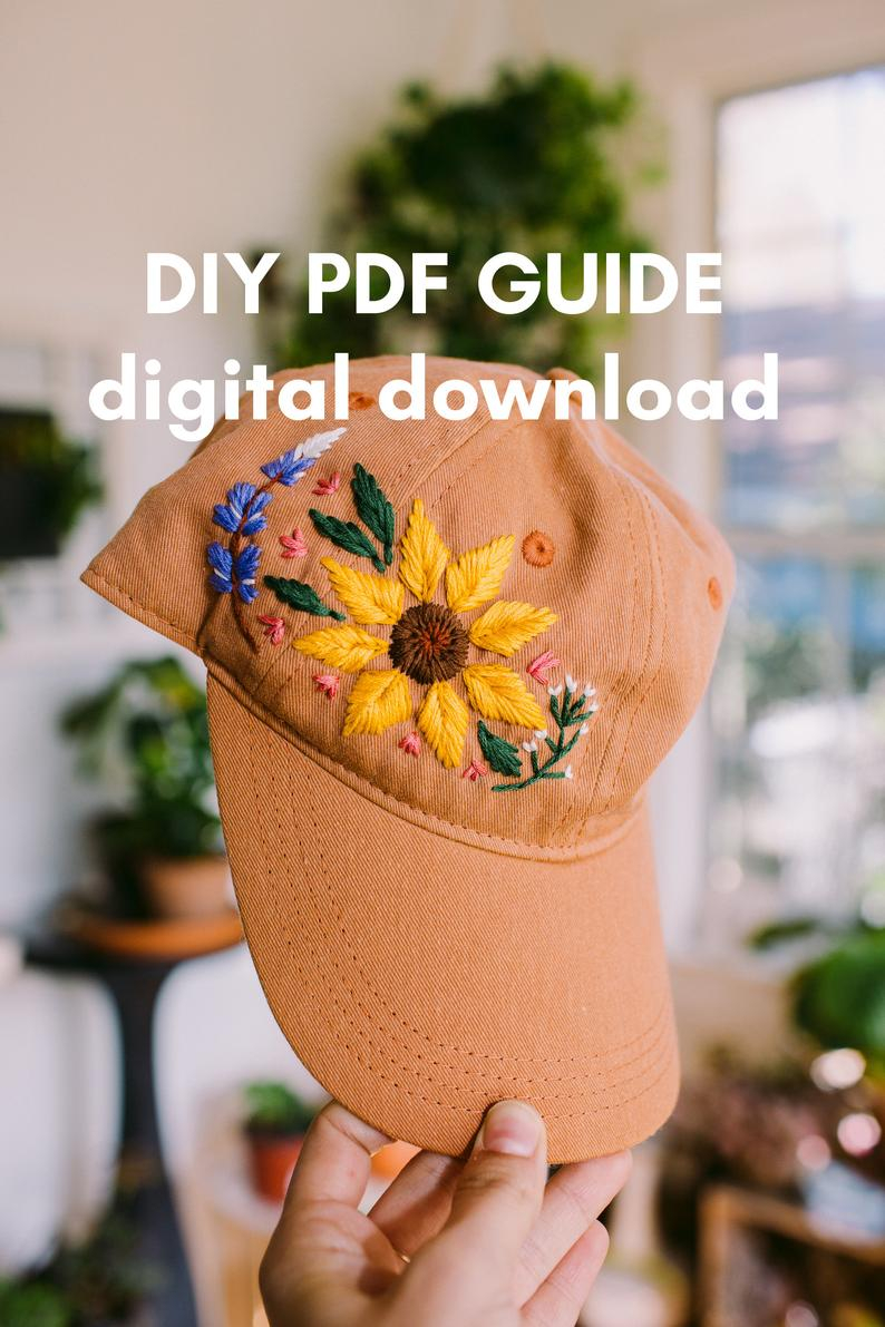 How To Make Your Own Embroidery Pattern Digital Download Mire Made Embroidery Pattern Make Your Own Embroidered Hat Sunflower 1