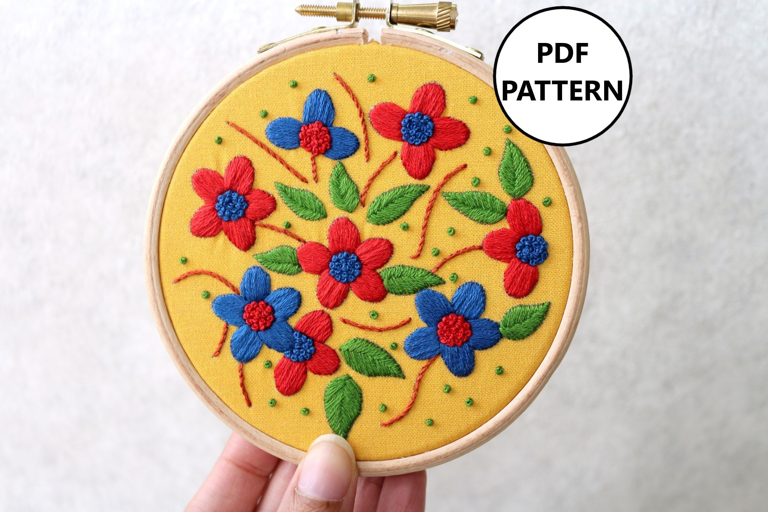 How To Make Your Own Embroidery Pattern Floral Embroidery Pattern Pdf Embroidery Pattern Embroidery Pattern Beginner Digital Download Floral Hoop Art Embroidery Flowers Diy