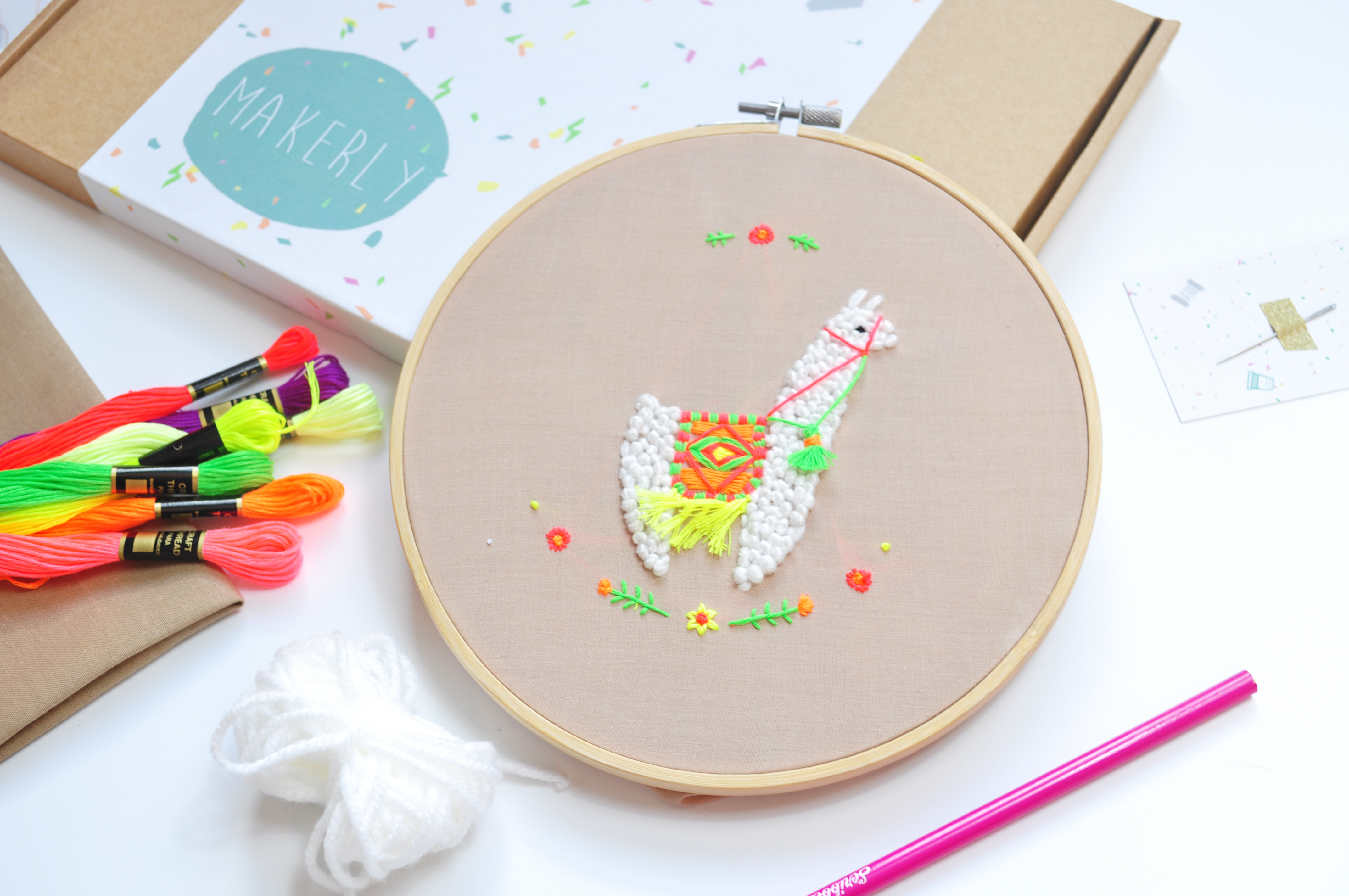 How To Make Your Own Embroidery Pattern Januarys Craft Kit Make Your Own Neon Llama Embroidery