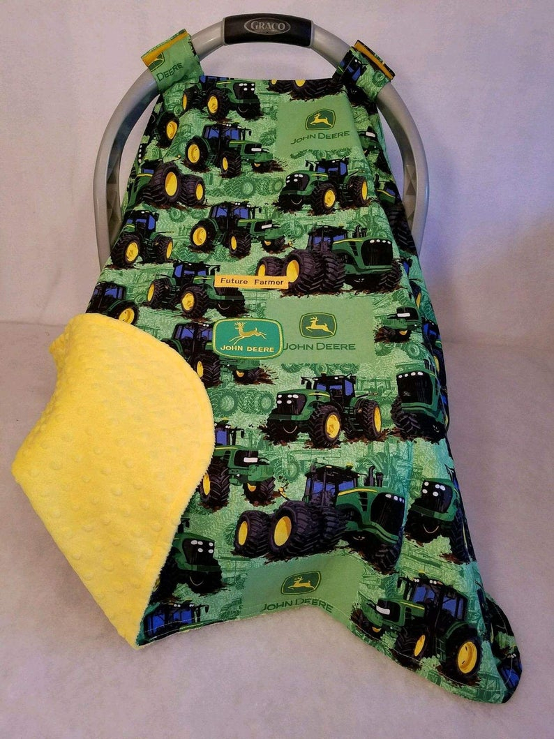 John Deere Embroidery Patterns Car Seat Canopy Cover John Deere Tractor Ba 100 Cotton Yellow Minky N Patch Hand Made Custom Embroidery Future Farmer Infant Cover