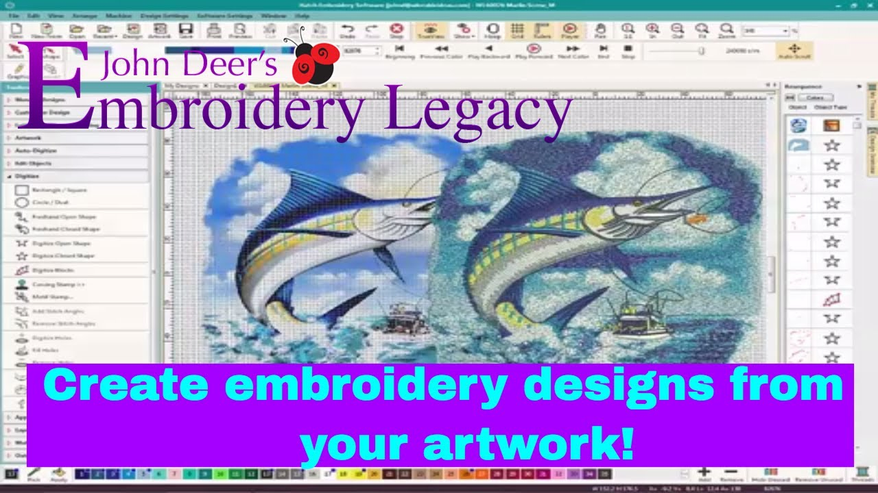 John Deere Embroidery Patterns Create Embroidery Designs From Artwork Digitizing Foundations Tutorial